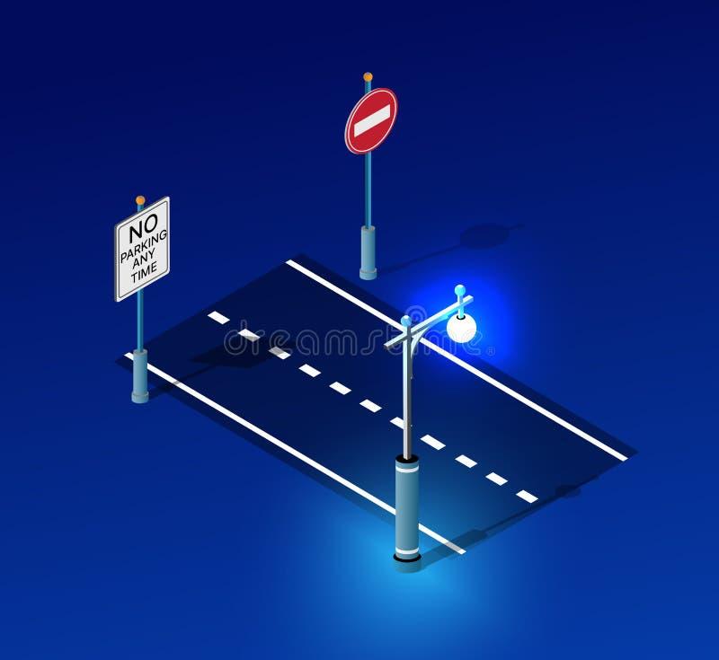 Isometric night light lighting. Ultra city concept of lanterns, an ultraviolet modern design of urban street lamps. Vector illustration of modern business stock illustration