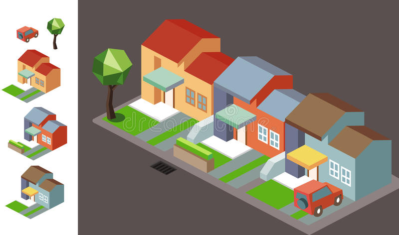 Isometric Night neighbourhood vector illustration