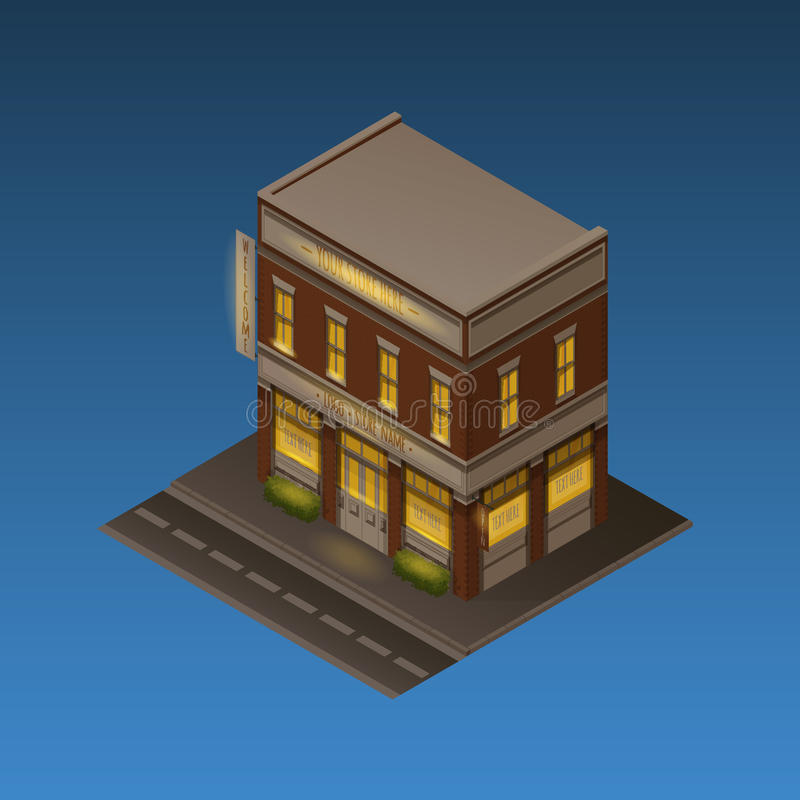 Isometric Night Scene vector illustration