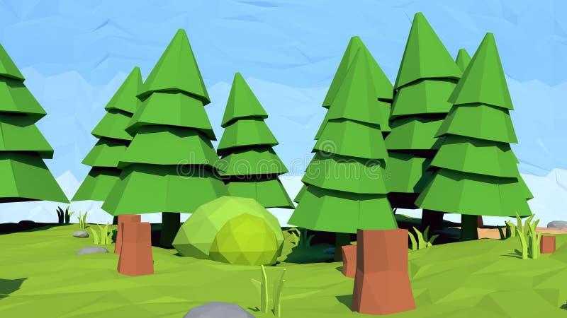 Isometric niski poli- jedlinowy drzewo, 3D rendering ilustracja wektor