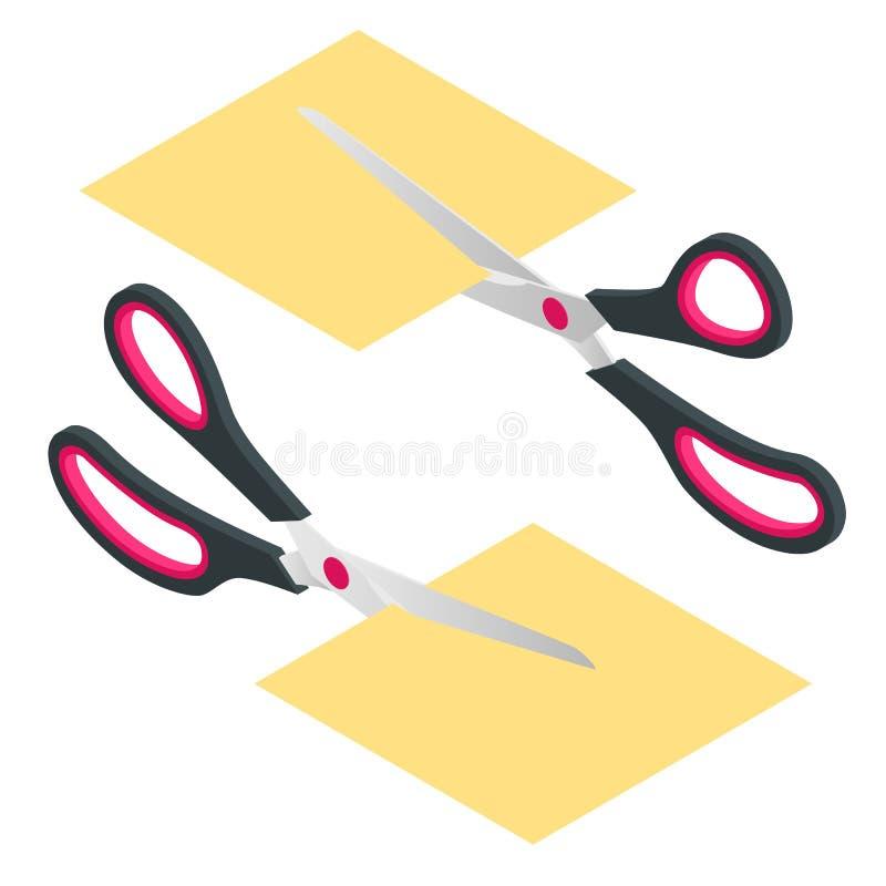 Isometric nożyce z czerwieni i czerni plastikowej rękojeści tnącą białą księgą na białym tle Odosobniony rozcięcie papier ilustracja wektor