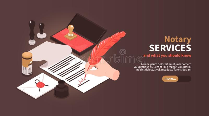 Notary Services Horizontal Banner royalty free illustration