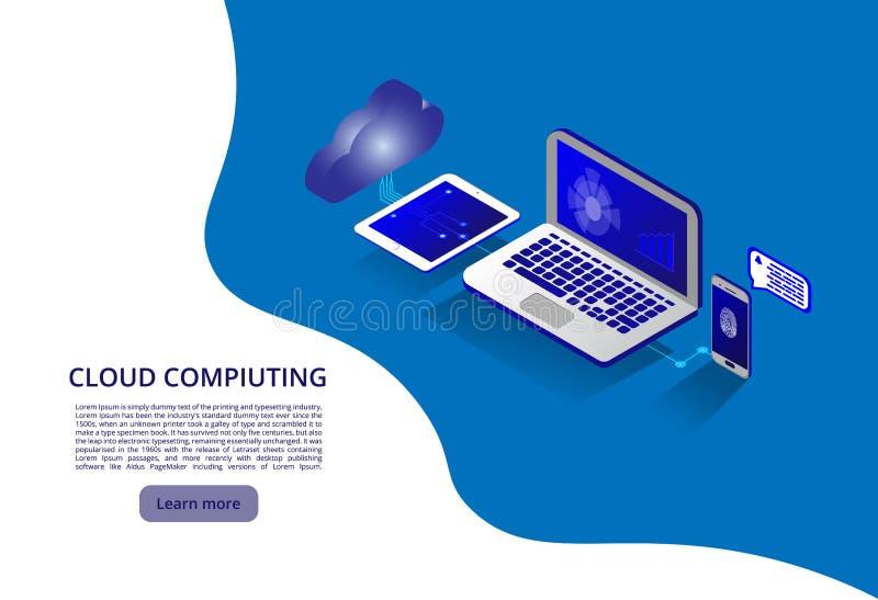 Isometric nowożytny obłoczny technologii i networking pojęcie Sieci technologii obłoczny biznes Obłoczny oblicza online magazyn royalty ilustracja