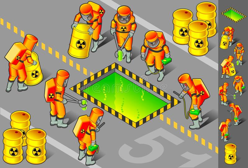 Isometric nuclear area with six man at work royalty free illustration