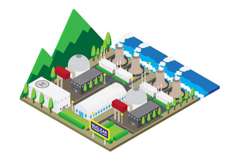 Isometric of nuclear power plants, , illustration stock illustration