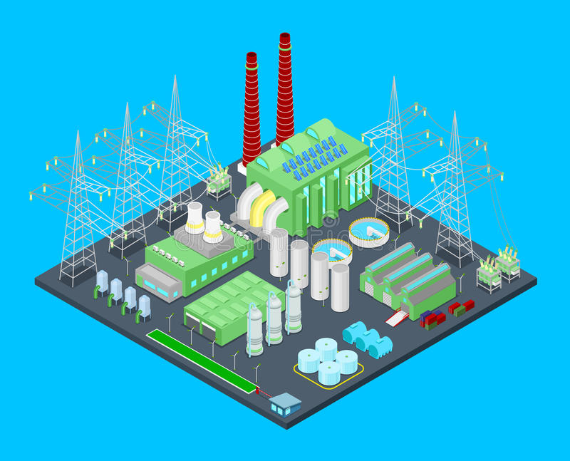 Isometric Nuclear Power Station with Pipes stock illustration
