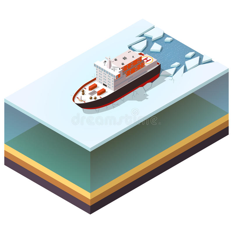 Isometric nuclear-powered icebreaker stock illustration