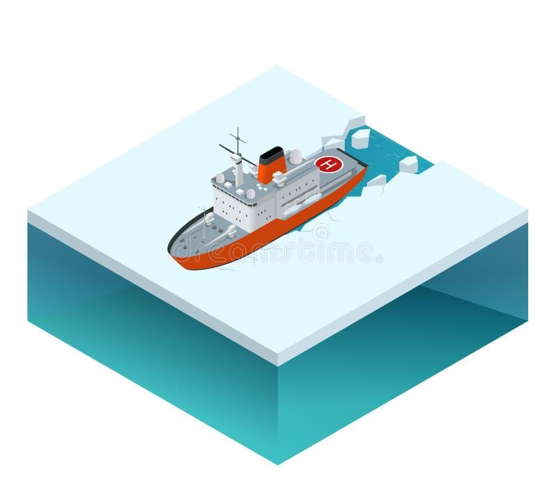 Isometric nuclear-powered icebreaker stock illustration