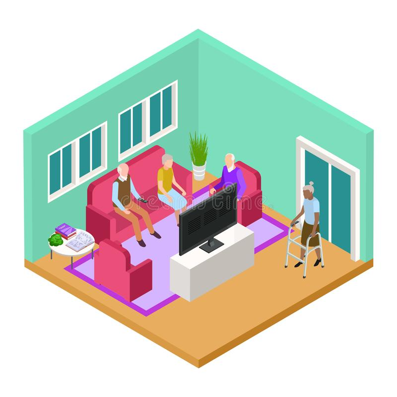 Isometric nursing home living room interior with old people vector concept. Illustration of elderly pensioner retirement, woman and man in living room stock illustration