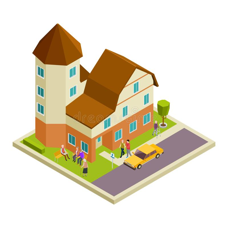 Isometric nursing house vector. Elderly people walking and speaking concept. Illustration of house retirement, elderly patient woman and man stock illustration
