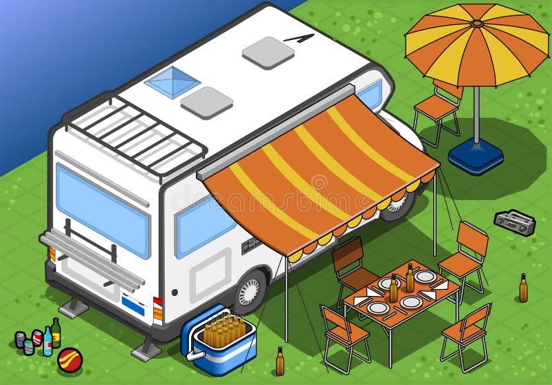 Isometric obozowicz w campingu w tylni widoku ilustracja wektor