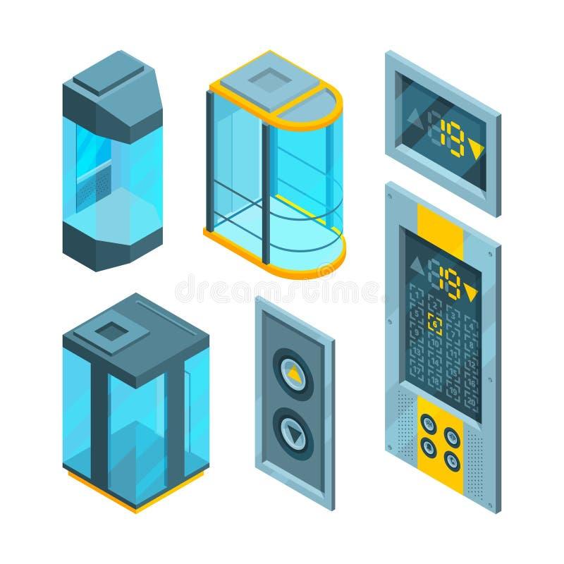 Isometric obrazki ustawiają szklane windy z stalowymi guzikami ilustracja wektor