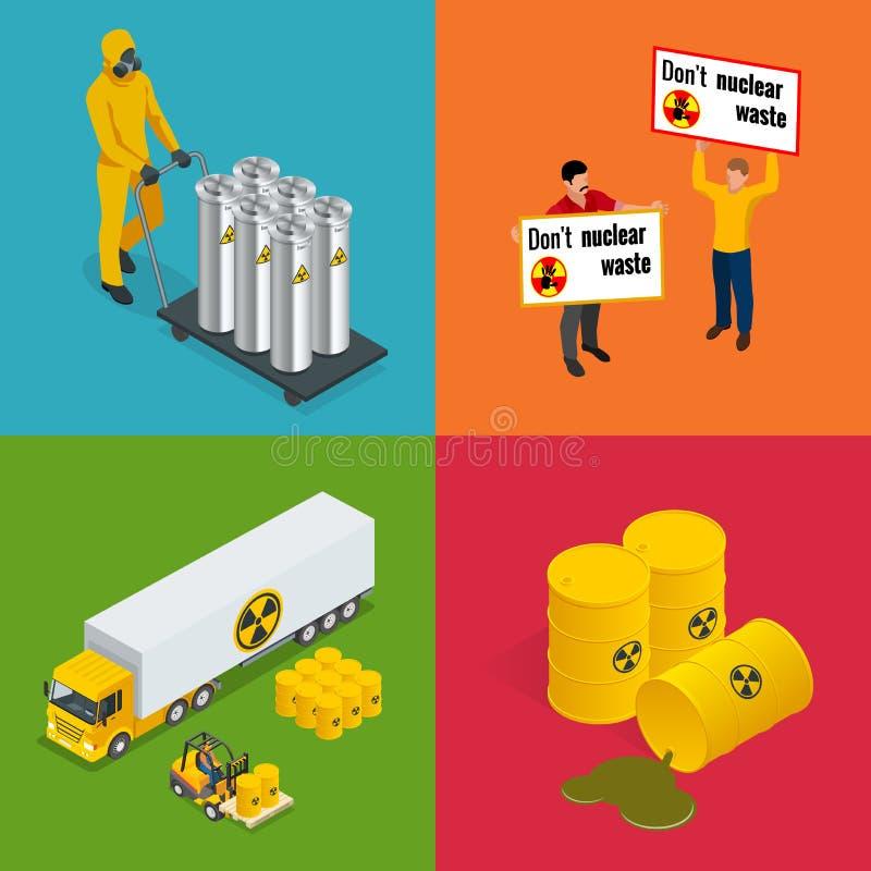 Isometric odpad radioaktywny elementy Wektorowe zagrożenia i napromieniania wektoru ilustracje ilustracja wektor