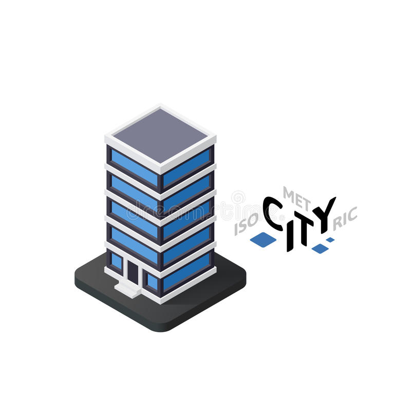 Isometric office building icon, building city infographic element, vector illustration. Isometric office building flat icon on white background, building city royalty free illustration