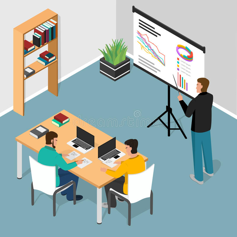 Isometric office. Concept of business meeting, exchange ideas and experience, coworking people,collaboration and vector illustration
