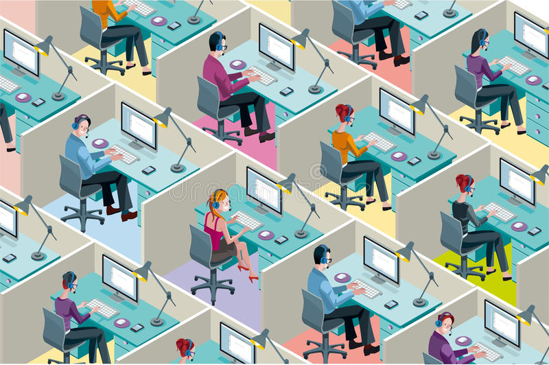 Isometric Office Cubicles royalty free illustration