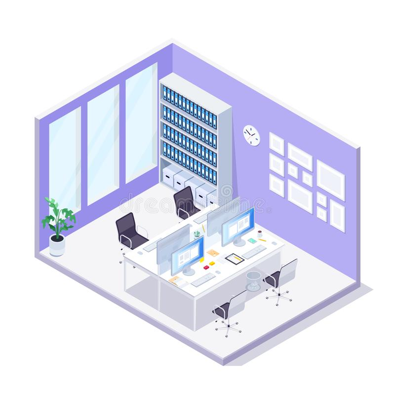 Isometric office. 3d office interior. royalty free illustration