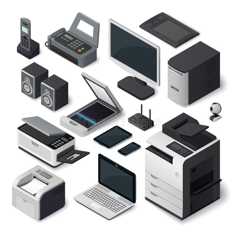 Isometric office equipment vector set. royalty free illustration
