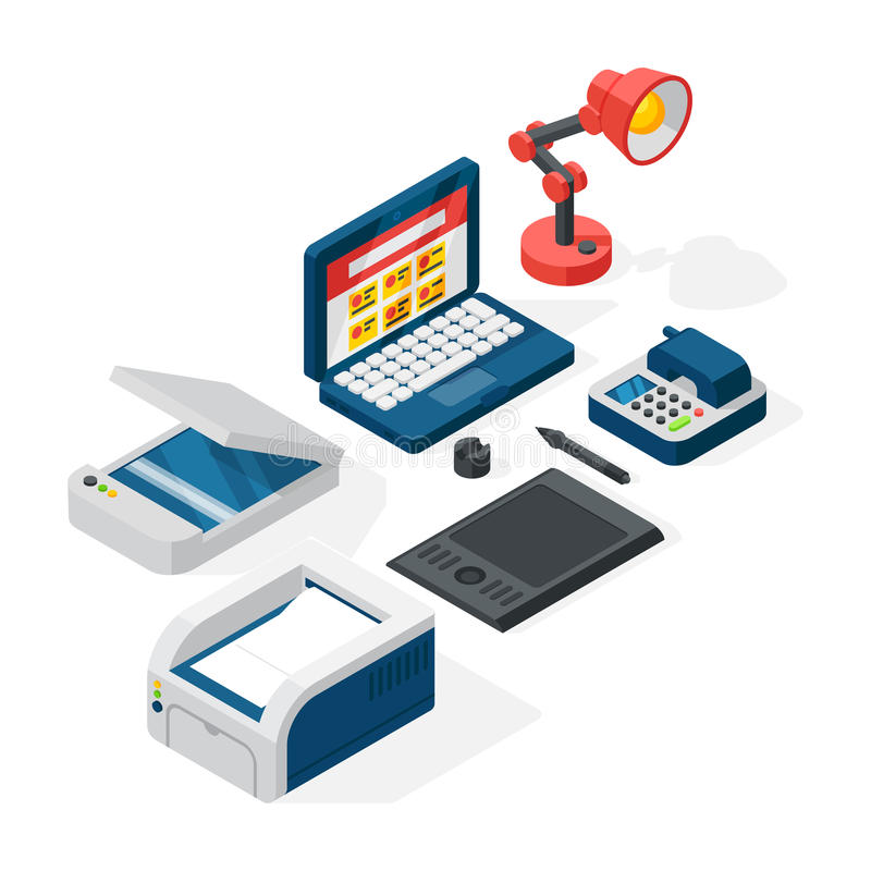 Download Isometric Office Equipment Vector Stock Vector - Illustration of printer, object: 83724251