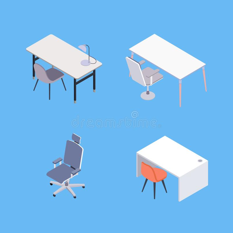Download Isometric Office Furniture Stock Vector. Illustration Of Work    109160386