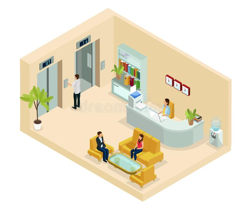 Isometric Office Hall Concept. With secretary people sitting on sofa bookshelf clocks water cooler elevators isolated vector illustration stock illustration