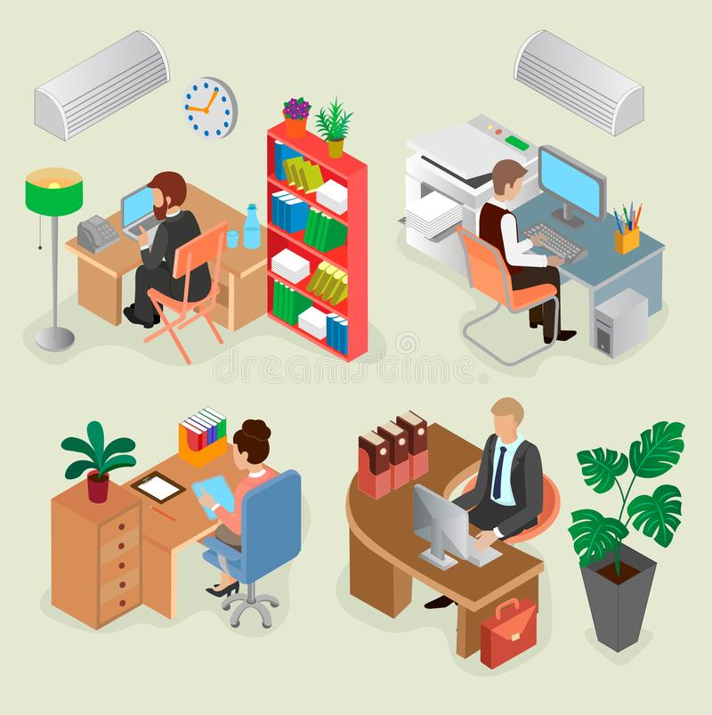 Download Isometric Office Interiors And Creative Employees Stock Vector    Illustration Of Design, People: