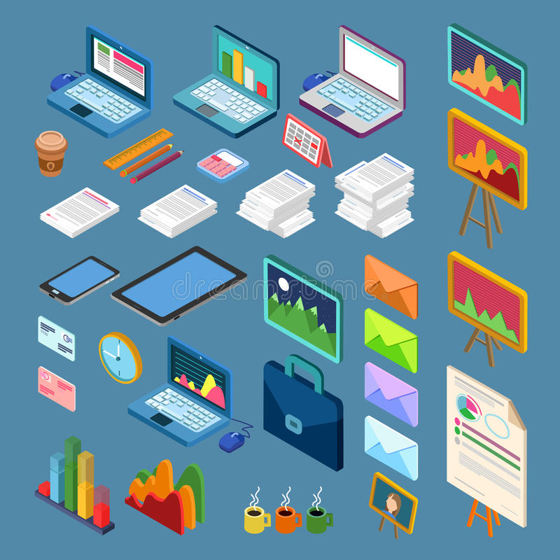 Isometric Office Objects. Business Elements Set vector illustration
