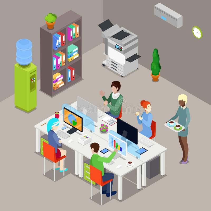 Isometric Office Open Space with Workers and Computers stock illustration