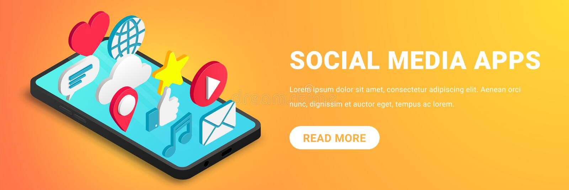 Isometric ogólnospołeczny medialny apps pojęcie horyzontalny ilustracji