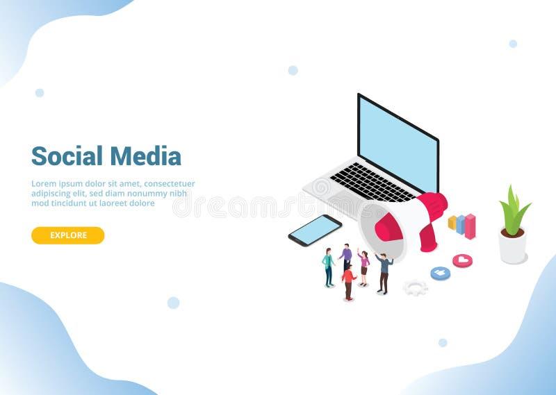 Isometric ogólnospołeczny medialny marketingowy pojęcie biznes dla strona internetowa szablonu sztandaru ląduje homepage - we ilustracji