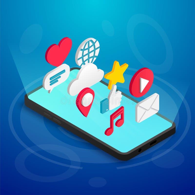 Isometric ogólnospołeczny medialny pojęcie telefonu błękit ilustracja wektor