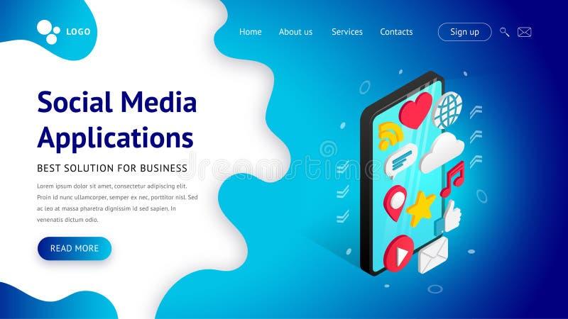 Isometric ogólnospołeczny medialny zastosowań lądować ilustracja wektor
