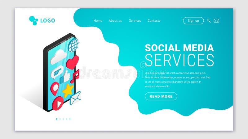 Isometric ogólnospołeczny medialnych usług lądować ilustracja wektor