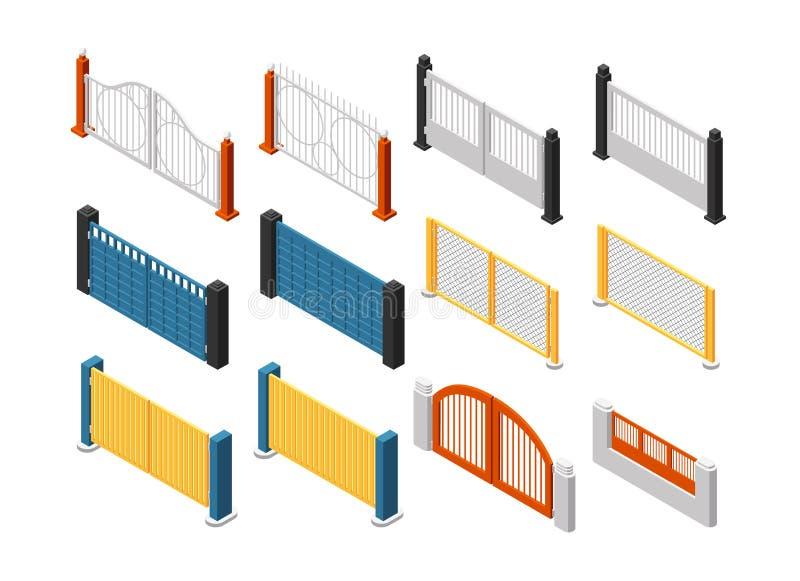 Isometric ogrodzenia Drewniany ogrodzenie, ogrodowy poręcz Odosobniony 3d wektoru set royalty ilustracja