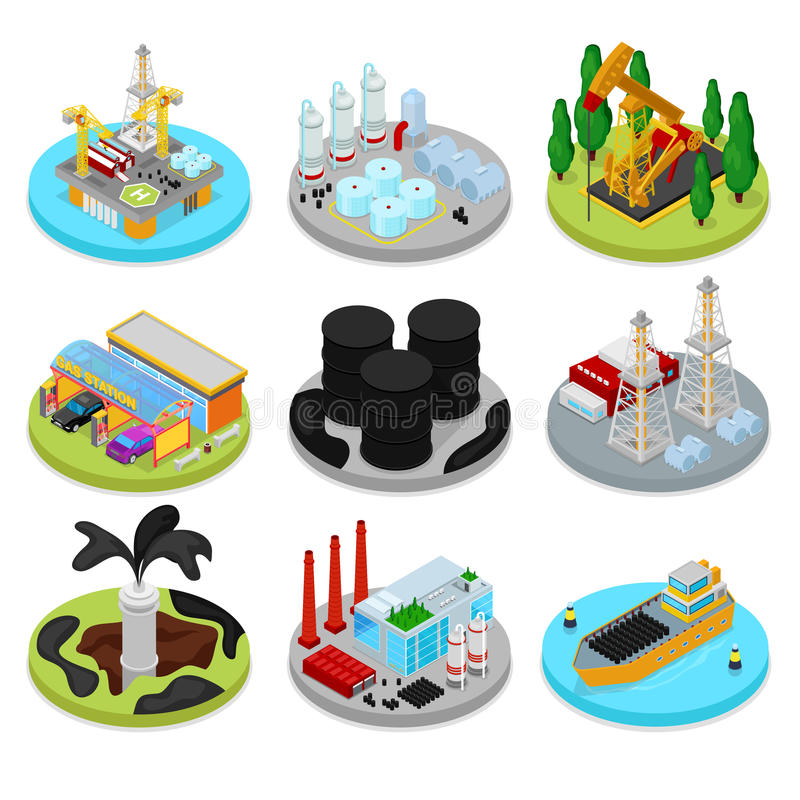 Isometric Oil Industry. Industrial Plant, Platform Drilling and Barrels. Fuel Production. Vector flat 3d illustration vector illustration
