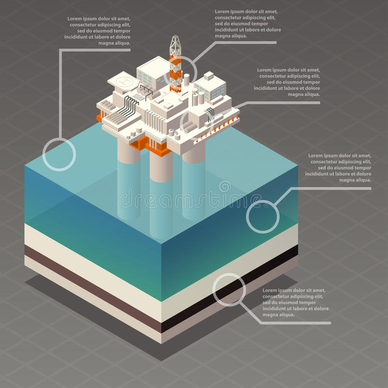 Isometric oil platform rig infographic vector illustration