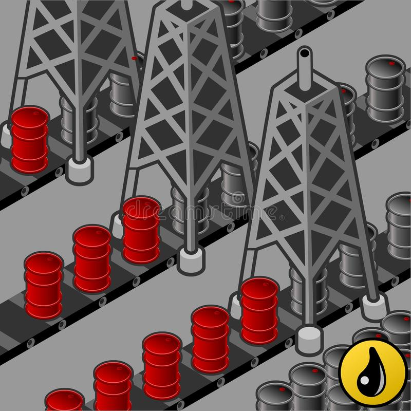 Isometric oil towers in production of barrels stock illustration