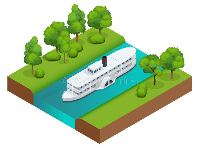 Isometric Old paddle steamer ship on the river. Water transport. Riding on the river. Flat 3d illustration. For. Infographics and design royalty free illustration