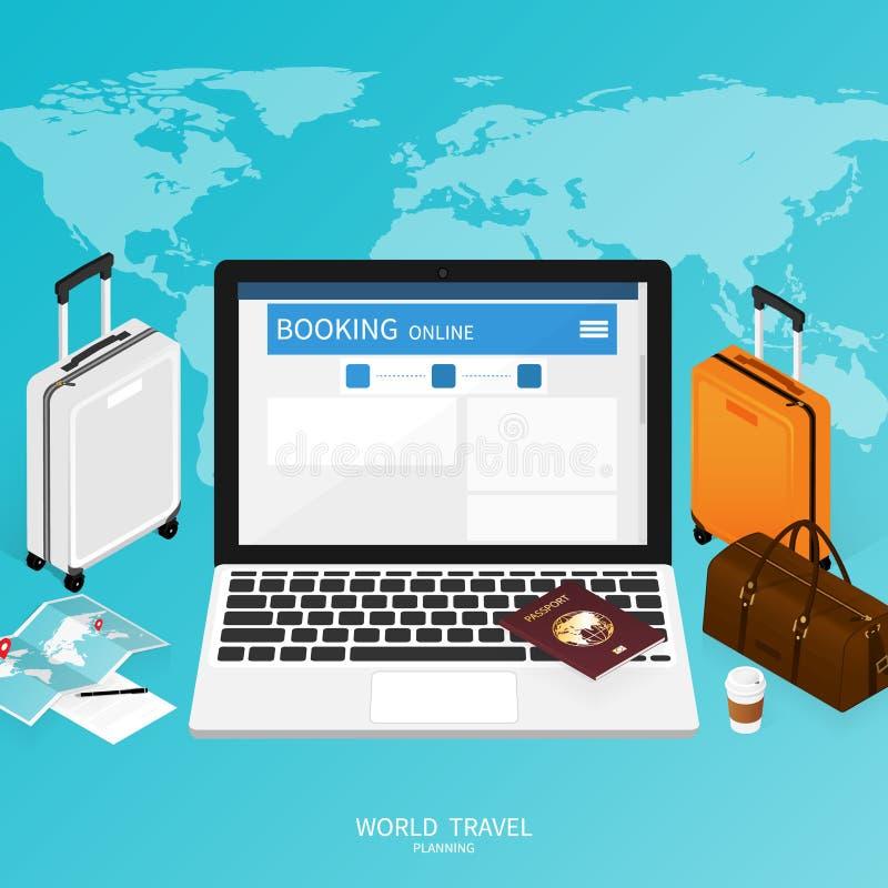 Isometric online booking ,passport world map,trip plan travel banner vector royalty free illustration
