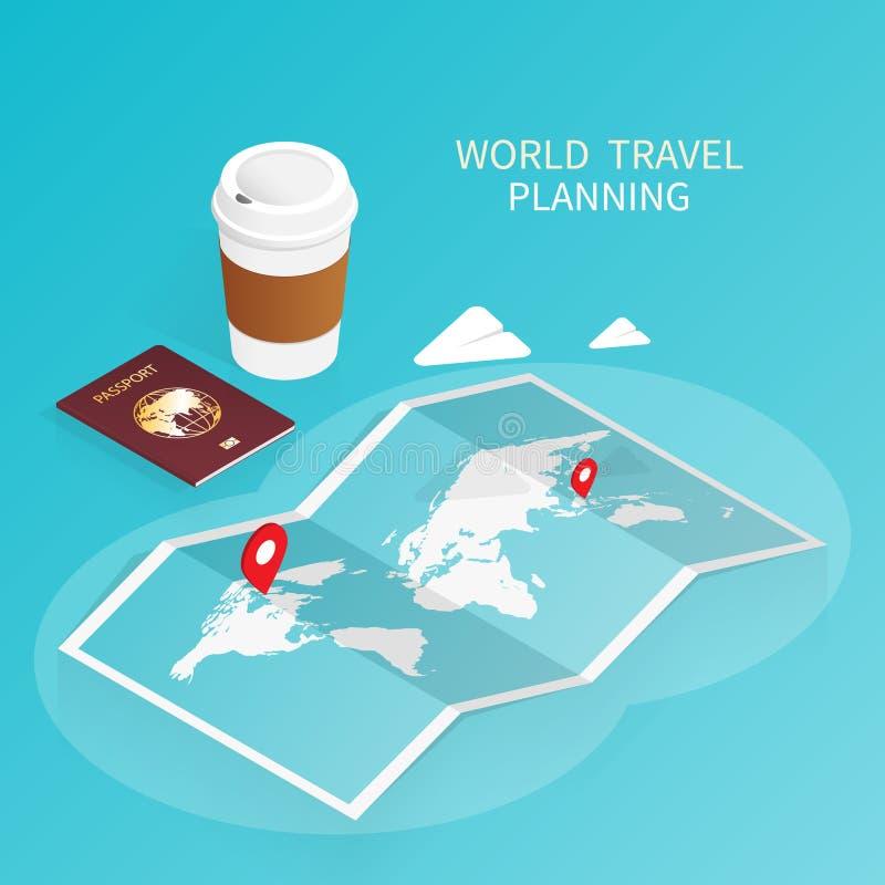 Isometric online booking ,passport world map,trip plan travel vector vector illustration