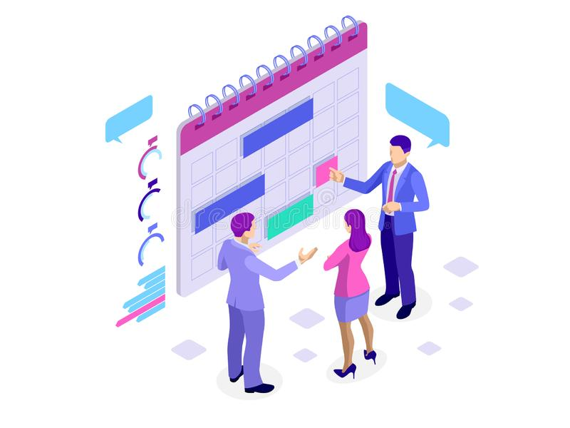 Isometric online business schedule, planning schedule, news, reminder, and events concept. Vector illustration royalty free illustration