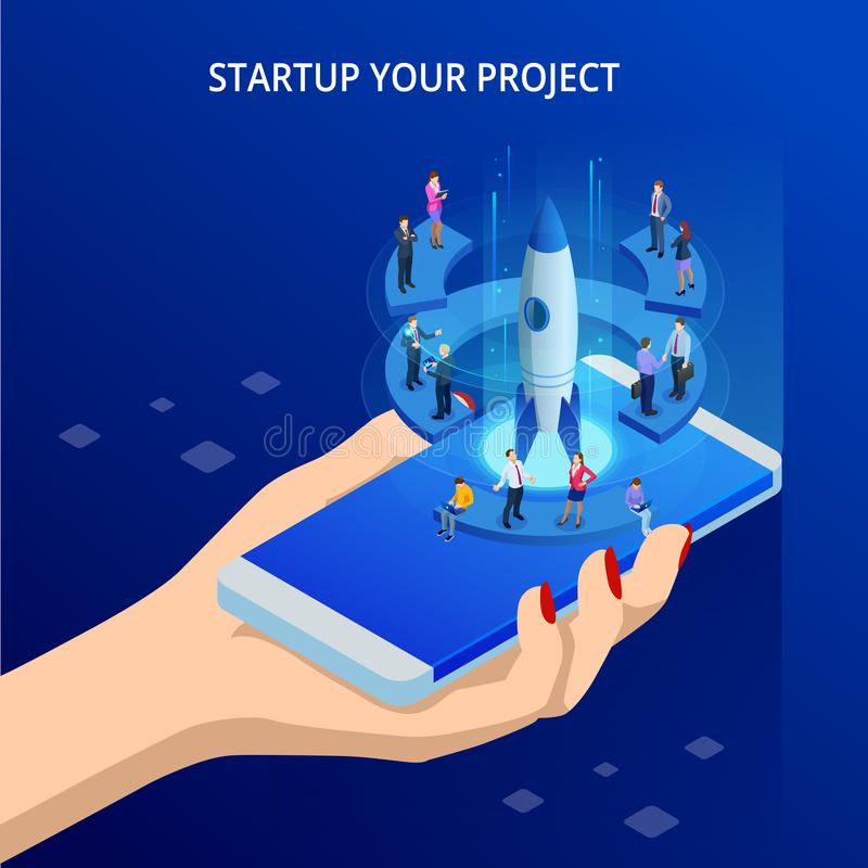 Isometric Online Businnes Start Up for web page, banner, presentation, social media concept. Income and Success. Vector stock illustration