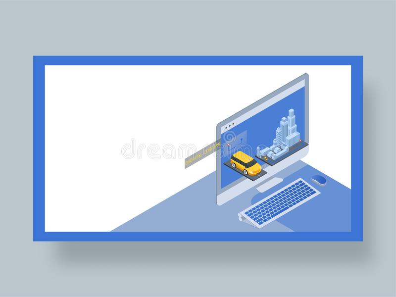 Isometric online cab booking from laptop, landing page design. Isometric online cab booking from laptop, landing page design in 3D style stock illustration