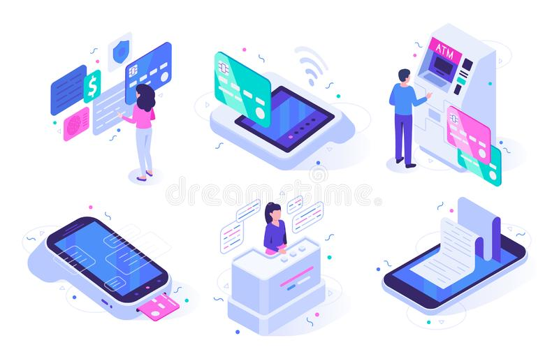 Isometric online cashier. Cash register terminal purchase checkout, sales outlet with buyers and atm customer vector. Isometric online cashier. Cash register stock illustration