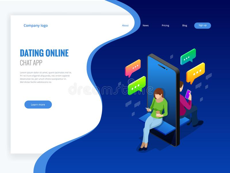 Isometric online dating and social networking concept. Teenagers addiction to new technology trends. Teenagers chatting vector illustration