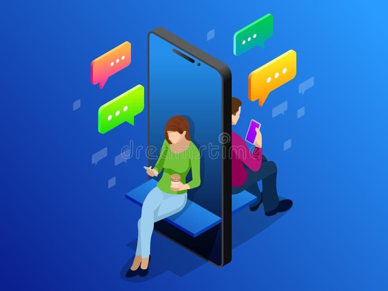 Isometric online datowanie i ogólnospołeczny networking pojęcie Nastolatka nałóg nowa technologia trendy Nastolatków gawędzić royalty ilustracja