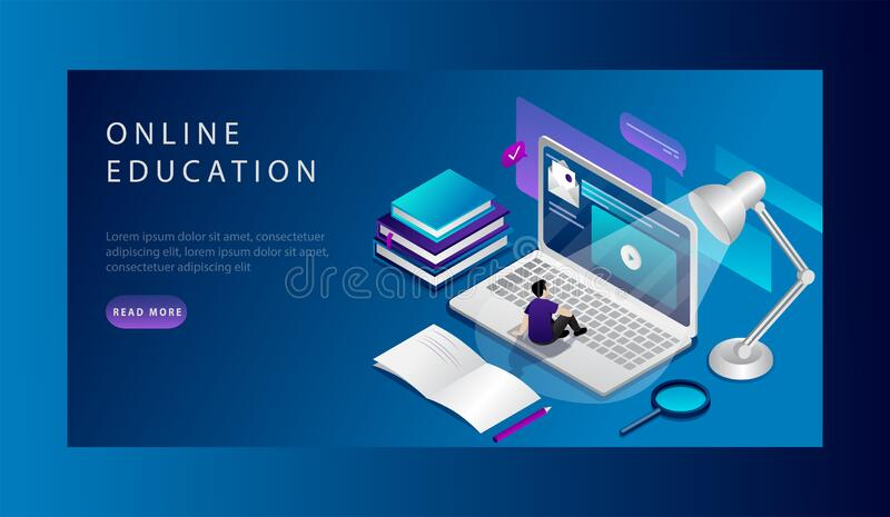 Isometric Online education Website Landing Page Concept. Student Is Studing Online Course. University Studies . Web Page royalty free illustration