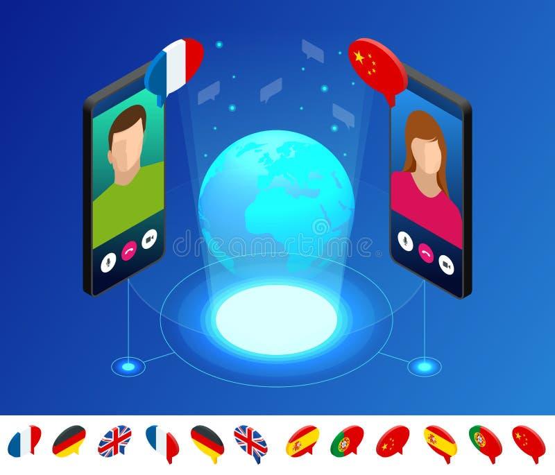 Isometric online głosu tłumacz i uczenie języków pojęcie Uczący się, tłumaczy języki lub audio przewdonika ilustracja wektor