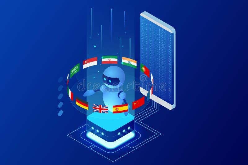 Isometric online językowy uczenie z sztucznej inteligenci lub nauczyciel nauk ścisłych larwy pojęciem Online językowa szkoła royalty ilustracja
