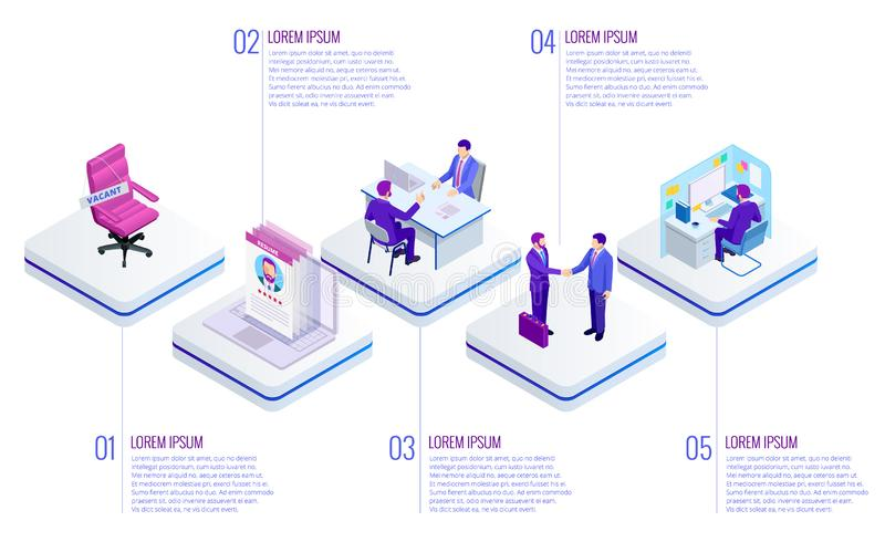 Isometric Online job search and human resource concept. Infographics of Business data visualization. Process chart. Job royalty free illustration